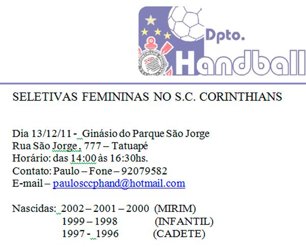 Corinthians realiza seletiva para jogadoras nascidas entre 1996 e 2002.