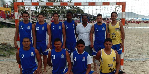 Guarujá foi campeão paulista masculino de handebol de areia. Crédito: Rogério Fiacadori