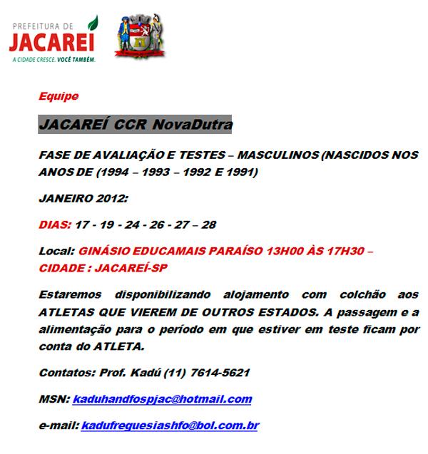 Jacareí promove seletiva para em dezembro para nascidos entre 1991 e 94.